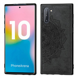 TPU Back Case Embossed Fabric 3D Printed Mandala Phone Cover for Samsung Galaxy Note 10 - Black