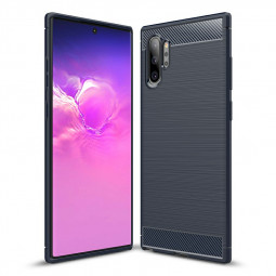 Silicone TPU Bumper Case Soft Case Cover Carbon Fiber Pattern for Samsung Galaxy Note 10 Plus - Navy