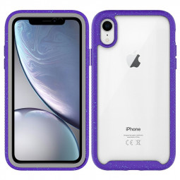 Hybrid Hard PC TPU Silicone Shockproof Protective Cover with Edge for iPhone XR - Purple