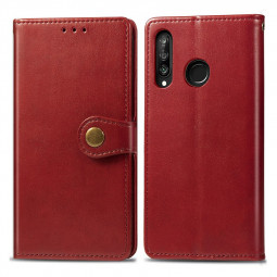 Magnetic Buckle PU Leather Wallet Case Cover with Stand Holder Function for Huawei P30 Lite - Red