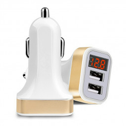 Multifunctional Digital Display Voltage and Current Dual USB Car Charger for Smart Phone - Gold