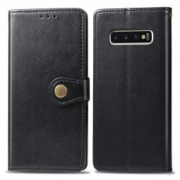 Wallet Card Case Leather Phone Cover with Stand Holder and Magnetic Buckle for Samsung Galaxy S10 - Black