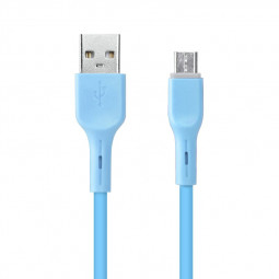 Candy Colour Micro USB Charger Cable Soft Android Charging Cable 1m - Blue