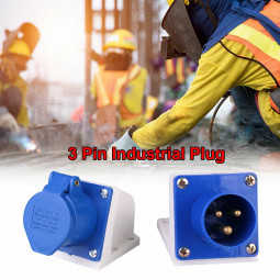 Blue 240V 16 AMP 3 Pin Industrial Site Plug Waterproof IP44 2P Male Plug