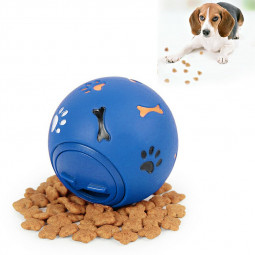 Pet Food Dispenser Leakage Fun Ball Dog Puppy Training Chew Bite Puzzle Toys Blue - L