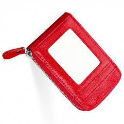 Rfid Blocking Wallet Case Anti-theft Secure Faux Leather Bank Card Holder Case Multilayer Card Cover - Red