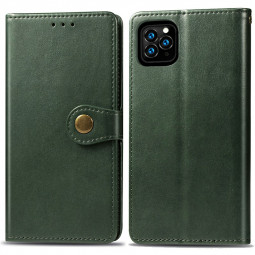 Magnetic Buckle PU Leather Wallet Card Case Cover Flip Stand Case for iPhone 11 Pro Max - Green