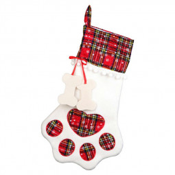 Christmas Stocking Pet Dog Paw Plaid Socks Gift Bag Packing Animal Xmas Stocking Candy Bags - Red