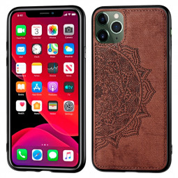 Fabric Embossed Mandragora Flower Back Case Cover TPU + PC Phone Case for iPhone 11 Pro Max - Brown