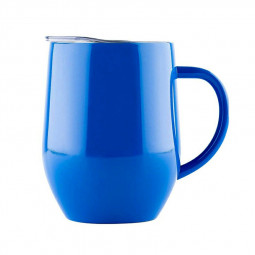 12oz Double Layer Vacuum Stainless Steel Egg Shaped Coffee Cup U Shaped Red Wine Mug with Handle - Blue