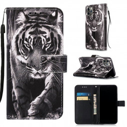 Painted Pattern PU Leather Wallet Credit Card Magnetic Flip Stand Case for iPhone 11 Pro Max - Black and White Tiger