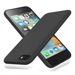 Anti Fingerprint Scratch Resistant Back Cover Soft Silicone Shockproof Cover Smooth Case for iPhone 7/8 - Black