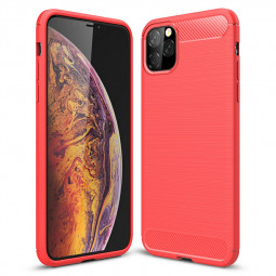 Shockproof TPU Bumper Case Carbon Fiber Cover 360 Degree Full Protection Phone Case for iPhone 11 Pro Max - Red