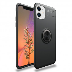Magnetic Ring Holder Shockproof Protective Case Smooth Grip TPU Bumper Back Cover for iPhone 11 - Black