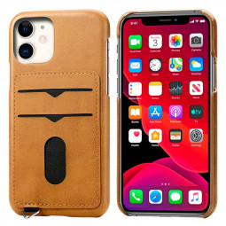 Protective Cellphone Case Leather Phone Case with Card Slot Shockproof Back Cover for iPhone 11 - Khaki