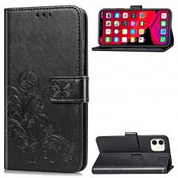 Flip Stand Holder Wallet Card Case Four Leaf Clover Embossing Case PU Leather for iPhone 11 - Black