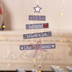 Xmas Tree Wooden Letter Pendant Christmas Decor Hanging Door Decorations Home Party Ornaments - Grey