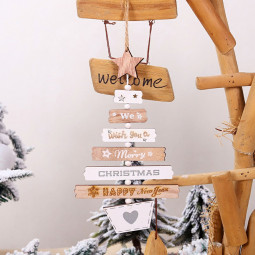 Christmas Decor Wooden Letter Pendant Hanging Door Decorations Xmas Tree Home Party Ornaments - Original Color