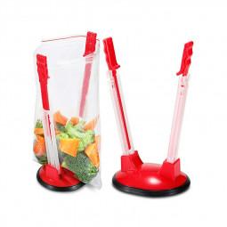 Clip-on Food Storage Bag Onto Holder Sandwich Bag Holder Ideal Plastic Kitchen Gadget Baggy Rack Holder - Red