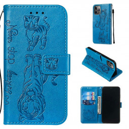 Wallet Credit Card Slot Case Printed Cat and Tiger Pattern Leather Magnetic Flip Stand Cover Phone Bag for iPhone 11 Pro - Blue