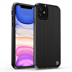 Soft TPU Phone Case Creative Vertical Stripe Grain Back Cover Ultra Slim Fitted Case for iPhone 11 - Black