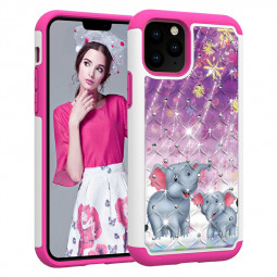 Inner Soft PU Bumper Printed Case Crystal Decorated Hard Phone Case Back Cover for iPhone 11 Pro - Elephant