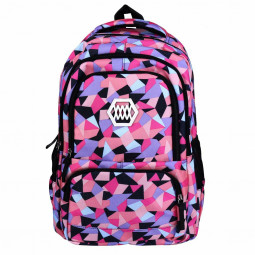 Fashion Fanci Geometric Prints Primary School Student Satchel Backpack for Girls Waterproof Preppy Schoolbag Shoulder Bag - Black