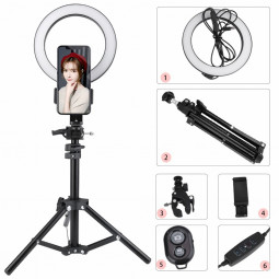 20cm LED Ring Light Dimmable Lighting Kit Phone Selfie Tripod Makeup Light for Youtube Live Stream Live