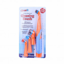 4 in 1 Electric Super Sonic Scrubber Cleaning Brush Home Bathroom Kitchen Tool Clean Tool - Orange