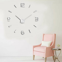 Fashion Craft DIY 3D Large Number Mirror Wall Clock Sticker Decor Decal Art Wall Clock for Home Office Room - Silver