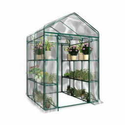 Heritage Garden PVC Greenhouses Outdoor Plant Grow Shelter Walk In 4-Tier Shelter House Greenhouse Grow Bag - 143x143x195cm