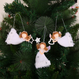 3pcs Creative Xmas Tree Ornaments Adorable Plush Flying Angel Craft Pendants Party Supplies Christmas Products