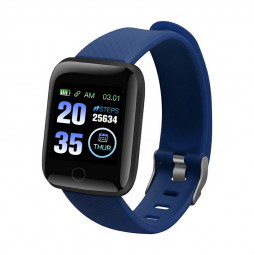 116plus Smart Watch Color Screen Sport Monitor Measure Heart Rate Blood Pressure Blood Oxygen Bluetooth Watch - Blue