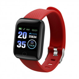 116plus Smart Watch Color Screen Sport Monitor Measure Heart Rate Blood Pressure Blood Oxygen Bluetooth Watch - Red