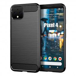 Soft TPU Bumper Shockproof Case Carbon Fiber Satin Protective Phone Back Cover for Google Pixel 4 - Black