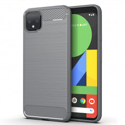Carbon Fiber Case Satin Phone Cover Soft TPU Bumper Shockproof Case for Google Pixel 4XL - Grey