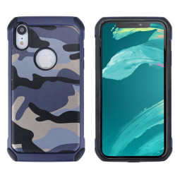 Camouflage Back Case Soft Silicone Frame and Hard PC Phone Case Fitted Phone Cover for iPhone XR - Blue