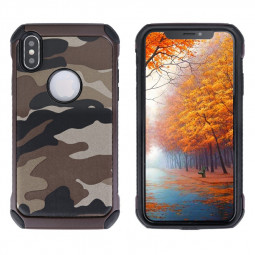 Soft Silicone Frame and Hard PC Phone Case Camouflage Back Case for iPhoneX/XS - Brown