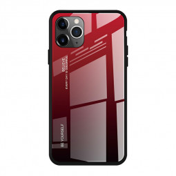 Soft TPU Tempered Glass Phone Case Frame Gradient Colour for iPhone 11 Pro Max - Reddish Black