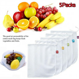 5 Packs Portable Kitchen Mesh Bag Vegetable and Fruit Net Drawstring bag Polyester Mesh Organizer Bag