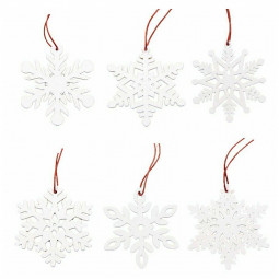 Wooden Christmas Snowflakes Christmas Tree Ornaments Wooden Horse Bells Decoration Crafts Listing - White