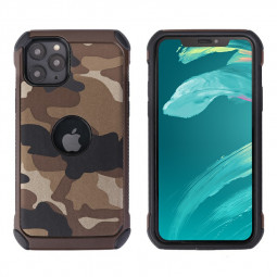 Protective Soft Silicone Frame Case Camouflage Back Case Shockproof Cover for iPhone 11 Pro Max - Brown