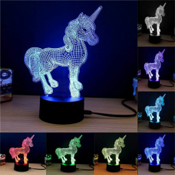 Acrylic 3D Unicorn Night Lamp 7 Colors Changing RGB Gradient Light Table Desk Lamps Gift