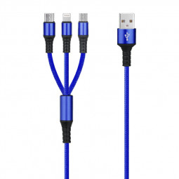 3 in 1 Portable Type C Micro USB and 8 Pin Lightning Multifunctional USB Charging Cable - Blue
