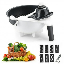 Kitchen Multifunctional Magic Rotate Vegetable Cutter Chopper Portable Grater with Drain Basket