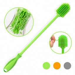 29cm Silicone Bottle Brush Bottle Cleaner Long Narrow Container Brusher - Green