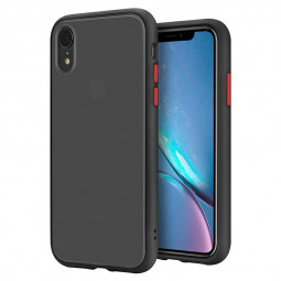 Shockproof Slim Phone Case Frosted Matte Contrast Color Back Case Cover for iPhone XR - Black