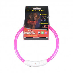 Rechargeable Pet Dog Safety Collar LED Flashing Light Belt Waterproof Choker - Pink