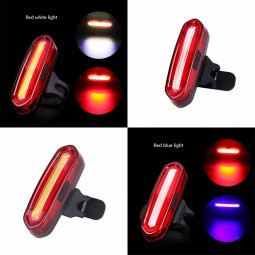 Bicycle Riding Taillight 120 Lumen COB High Brightness USB Rechargeable Safety Running Light - Red + Blue