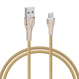 1m Type C Fabric Braided Charger Cable High Quality Zinc Zlloy USB 3.1 Cable - Brown